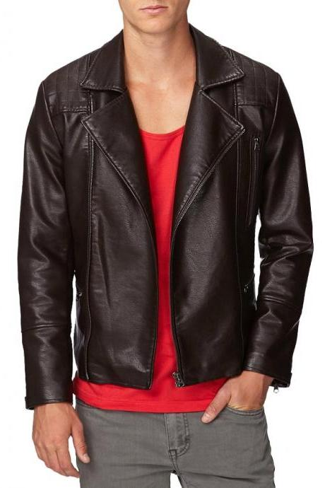 Men Chocolate Brown Fashionable Quilted Shoulders Slim Fit Outerwear Leather Jacket