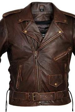 Antique Brown Real Leather Brando Shoulder Epaulets Belted Waist Handmade Men Jacket