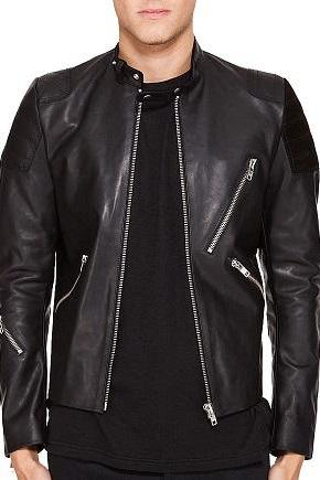Men Black Zipper Style Tab Collar Padded Shoulders Biker Fashion Leather Jacket