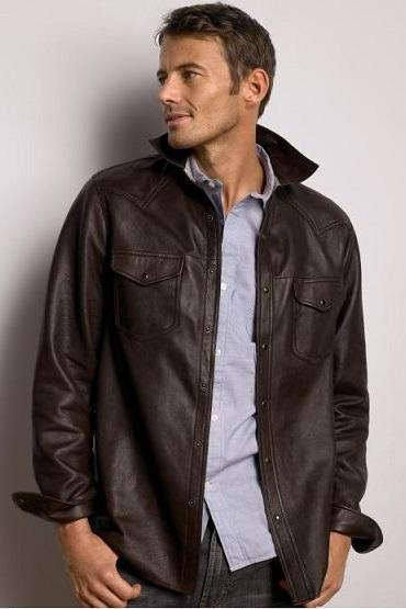 Handmade Men Brown Front Button Closure Fashionable Genuine Leather Jacket