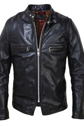 Made To Order Black Real Leather Tab Collar Front Zipper Men Fashion Jacket