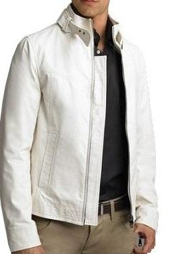 White Men Handmade Front Zipper Belted Collar Fashionable Real Leather Jacket