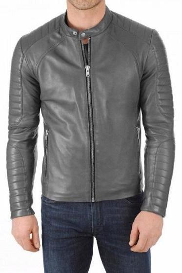 Gray Fashionable Padded Shoulders and Sleeves Tab Collar Biker Fashion Leather Jacket