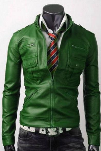 Customize Green Fashionable Shoulder Epaulets With Stand Up Collar Slim Fit Leather Jacket