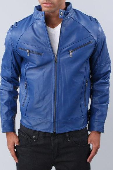 Blue Men Vintage Leather Front Zipper Tab Collar Handmade Fashionable Jacket