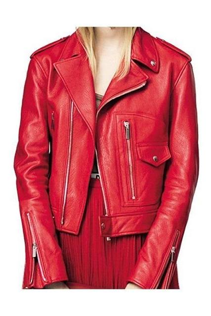 Women's Hot Red Brando Zipper Style Shoulder Epaulets Party Fashion Leather Jacket