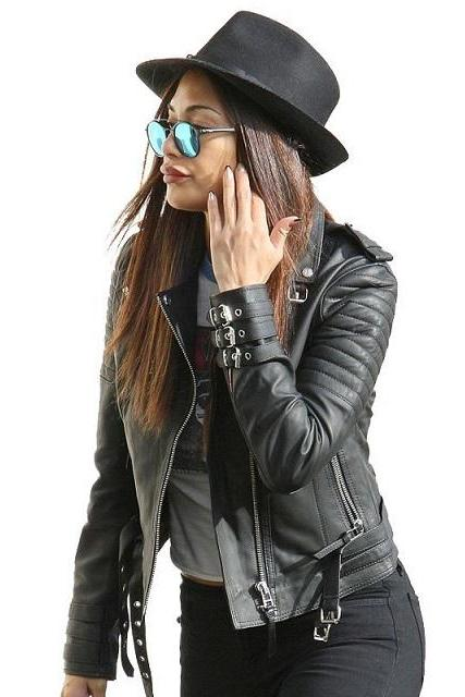 Magnificent Black Real Leather Fashionable Jacket Buckle Belted Waist Collar and Sleeves