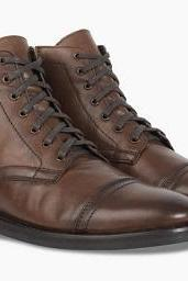 High Ankle Brown Genuine Leather Lace Up Derby Cap Toe Handmade Zipper Boots