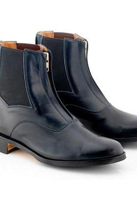 Chelsea Blue Vintage Leather Rounded Derby Toe Handmade Zipper High Ankle Boots