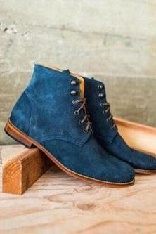 Blue Suede Rounded Derby Toe Real Leather Handmade Ankle High Lace Up Boots