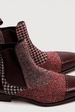 Men Maroon Genuine Tweed Leather Rounded Derby Cap Toe High Ankle Boots