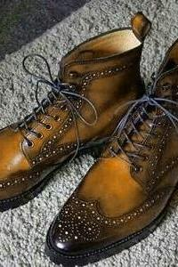 Luxury Brown Genuine Leather Full Brogue Toe Lace Up High Ankle Wing Tip Boots