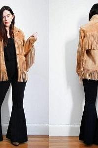 Beige Suede Women Western Style Front Button Closure Long Fringed Real Leather Jacket