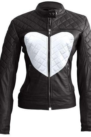 Customize Women Black Full Quilted Tab Collar Front Zipper Fastening White Heart Fashion Leather Jacket