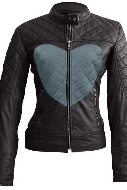 Women Black Fashionable Full Quilted Tab Collar Front Zipper Fastening Blue Heart Leather Jacket