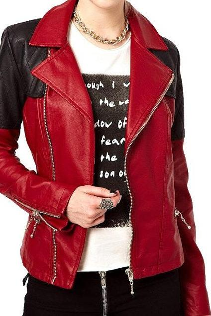 Two Tone Red Black Women Genuine Leather Quilted Brando Fastening Zipper Slim Fit Fashion Jacket