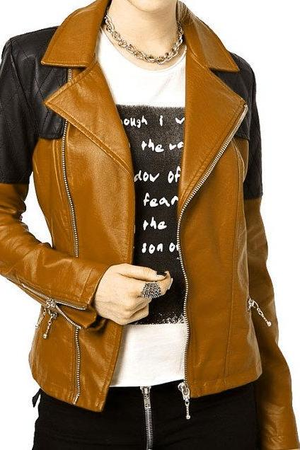 Brown and Black Cont Women Genuine Leather Quilted Brando Fastening Zipper Slim Fit Fashion Jacket