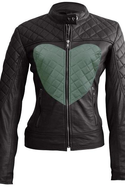 Women's Black Fashionable Tab Collar Quilted Green Heart Front Fastening Zipper Leather Jacket