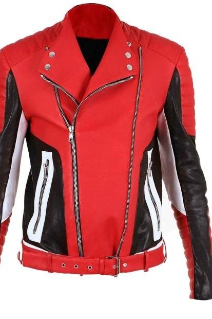 Multi Color Vintage Leather Slim Fit Padded Shoulders and Sleeves Belted Waist Men Fashion Jacket