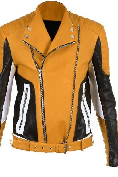 Men Multi Color Vintage Leather Slim Fit Belted Waist Padded Shoulders and Sleeves Fashionable Jacket