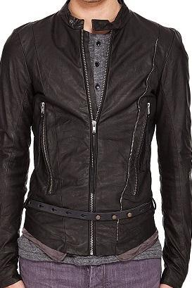 Men Black Fashionable Genuine Leather Belted Buckle Fastening Zipper Tab Collar Fashion Jacket