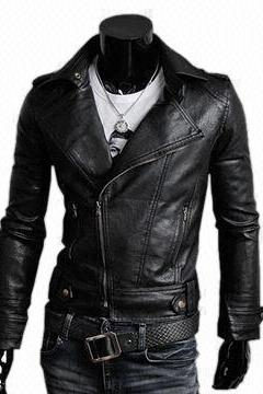 Black Fashion Vintage Leather Brando Waist Belted Men Fashionable Jacket