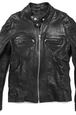Made To Order Black Real Leather Front Zipper Fastening Tab Collar Men Fashion Jacket