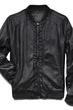 Men Black Sheep Skin Leather Front Fastening Zipper With Tab Rib Collar Fashionable Jacket