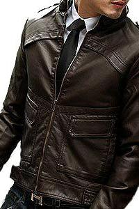Handmade Brown Fashionable Men Vintage Leather Belted Collar Shoulder Epaulets Outerwear Jacket