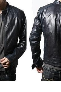 Men Black Fashionable Leather Jacket Fastening Zipper With Tab Collar