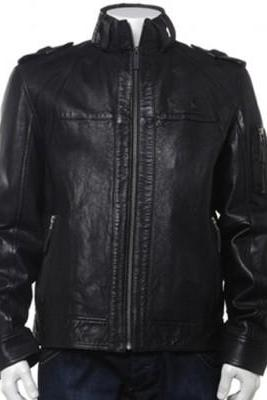 Made To Order Black Real Leather Men Fashion Jacket Front Zipper Shoulder Epaulets With Belted Collar