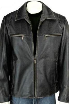 Men Classic Genuine Leather Front Zipper Collar Handmade Fashionable Jacket