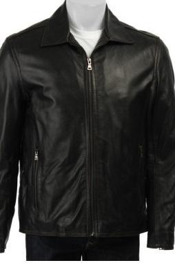Men Black Biker Genuine Leather Front Zipper Collar Handmade Fashion Jacket