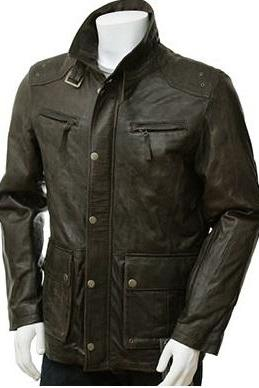 Green Men Genuine Leather Front Button Closure Belted Collar Pockets Fashion Jacket