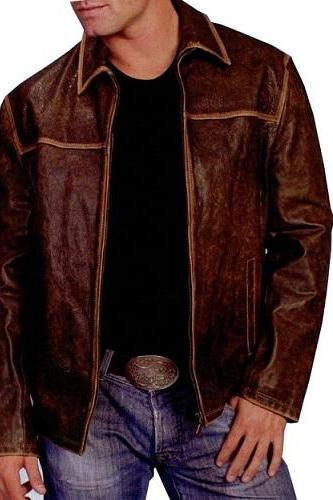 Antique Brown Real Suede Leather Front Zipper Fastening Men Fashionable Jacket