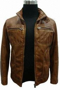 Men Brown Genuine Leather Fashionable Front Zipper Antique Handmade Jacket