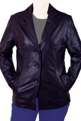 Women Black Vintage Leather Brando Front Button Closure Fashionable Slim Fit Coats