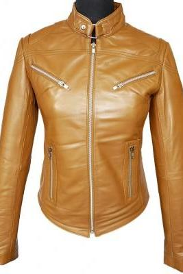 Brown Fashionable Real Leather Tab Collar Front Fastening Zipper Slim Fit Women Jacket
