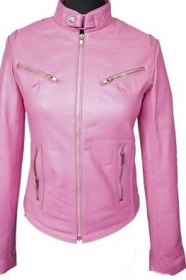 Pink Women Genuine Leather Tab Collar Front Fastening Zipper Slim Fit Fashion Jacket