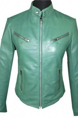 Women Fashion Jacket Green Real Leather Tab Collar Front Fastening Zipper