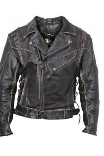 Antique Black Men Belted Waist Brando Zipper Fashionable Handcrafted Leather Jacket