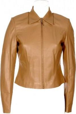 Women Brown Genuine Leather Collar Front Zipper Fashion Jacket