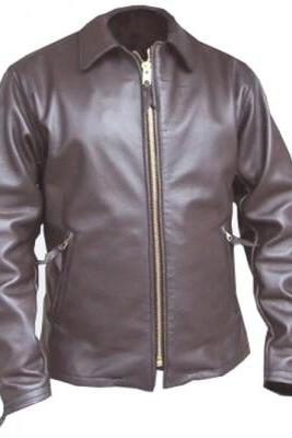 Men Brown Fashionable Front Zipper Fastening Collar Handmade Leather Jacket