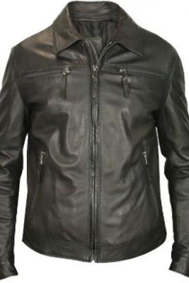 Customize Black Real Leather Front Zipper Collar Handmade Fashion Jacket