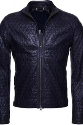 Men Black Full Quilted Genuine Leather Front Fastening Zipper Handmade Fashionable Jacket