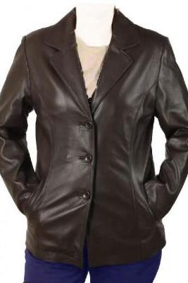 Women Brown Vintage Leather Brando Front Button Closure Fashionable Slim Fit Coats