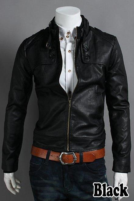 Customize Black Vintage Leather Belted Collar Front Zipper Fastening Outerwear Fashion Jacket