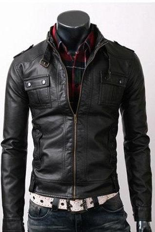 Men Black Biker Fashion Leather Jacket With Front Fastening Zipper Shoulder Epaulets Belted Collar