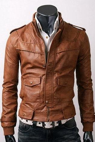 Brown Fashionable Front Zipper Button Closure Shoulder Epaulets Slim Fit Men Jacket