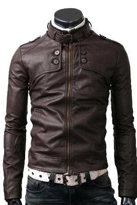 Men's Chocolate Brown Fashionable Four Buttons Belted Collar Fastening Zipper Biker Leather Jacket